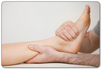Pts warm up Achilles tendon tissue by performing deep tissue massage.